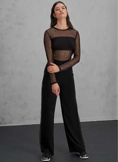 Pi π Yanları Organze Bol Paça Pantolon Siyah